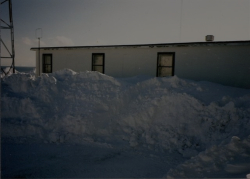 Aftermath of an Attu snow storm, viewing the main building.  [Kevin Mackey]