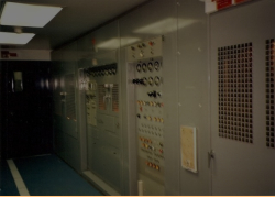 Inside Attu's Transmitter Building showing 1993's newly installed transmitters.  [Kevin Mackey]